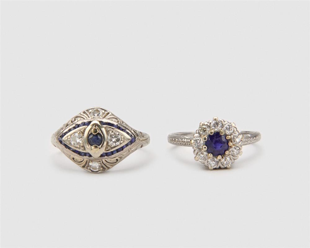 Two LAMBERT BROS. Platinum, Diamond, and Sapphire Rings