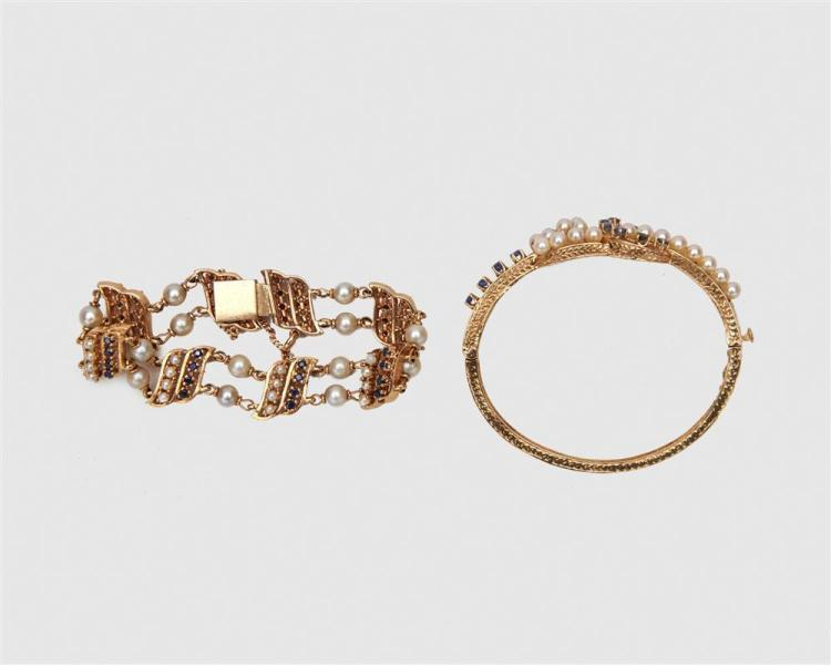 Two 14K Yellow Gold, Sapphire, and Pearl Bracelets