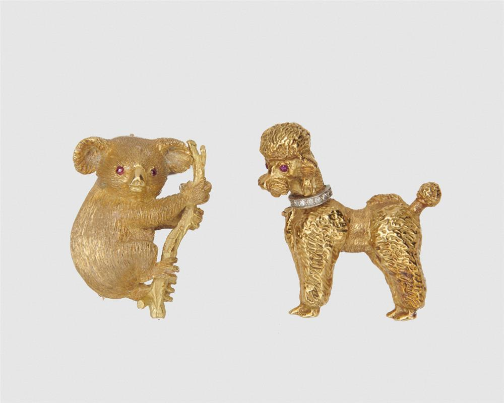 Two Gold and Gemset Animal Brooches