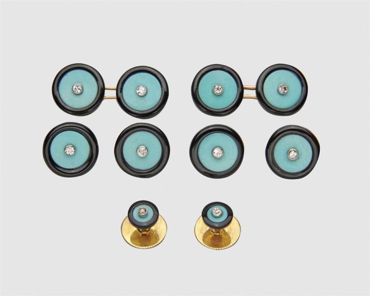 BOUCHERON 18K Gold, Turquoise, Diamond, and Onyx Dress Set