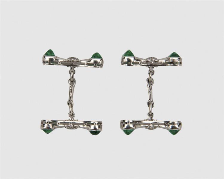 RAYMOND YARD Platinum, Emerald, and Diamond Cufflinks