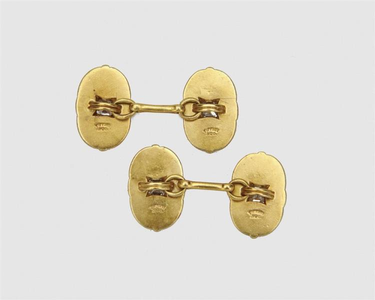 TIFFANY & CO. 18K Gold and Diamond Cufflinks