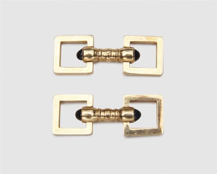 CARTIER 18K Gold and Sapphire Cufflinks