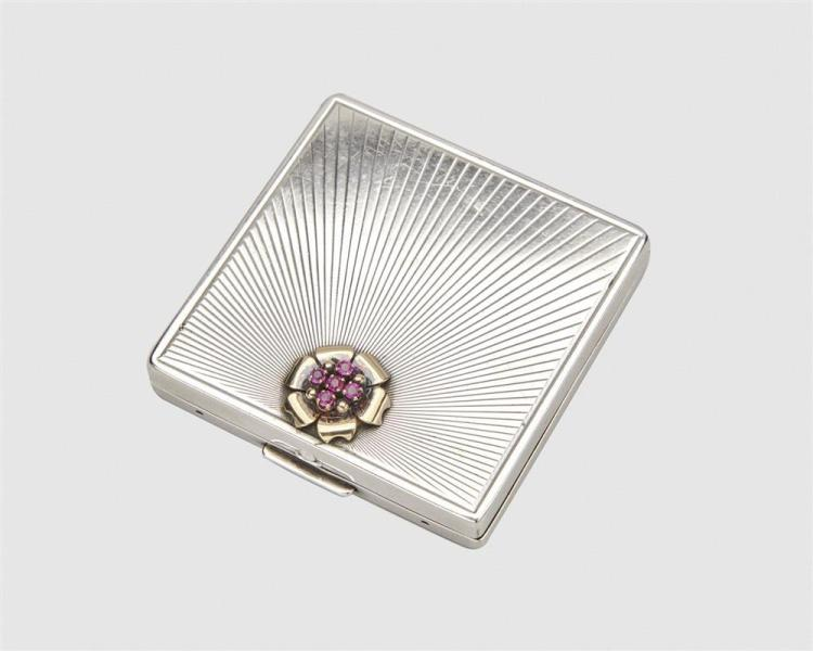 BLACK, STARR & GORHAM Silver, 14K Gold, and Ruby Compact