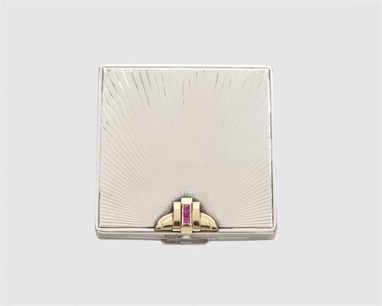 TIFFANY & CO. Silver, 14K Gold, and Ruby Compact