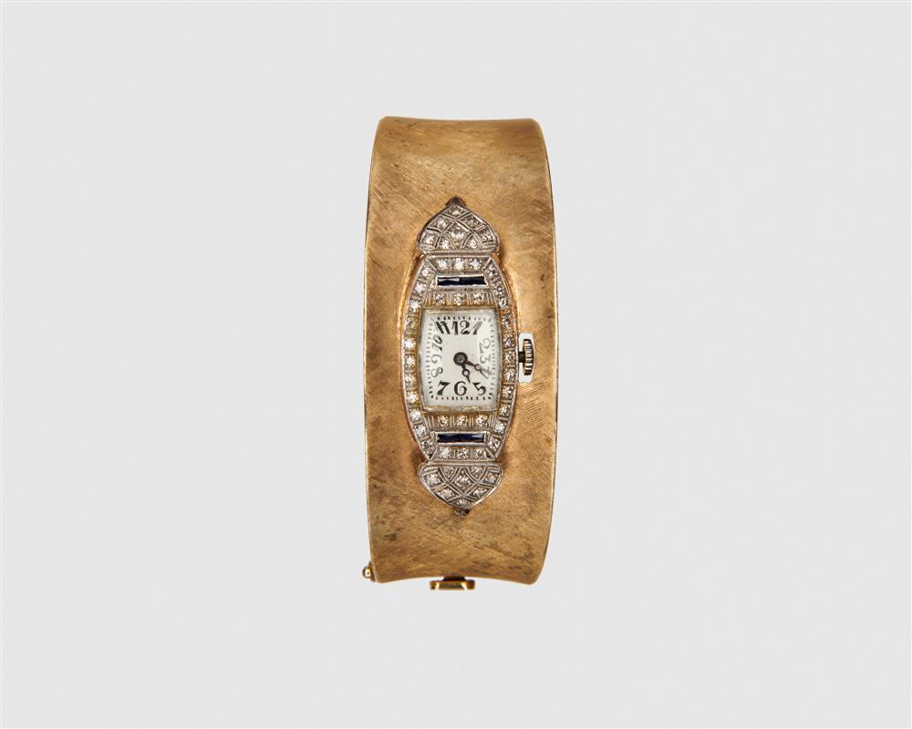 14K Gold, Platinum, Diamond, and Sapphire Cuff Wristwatch