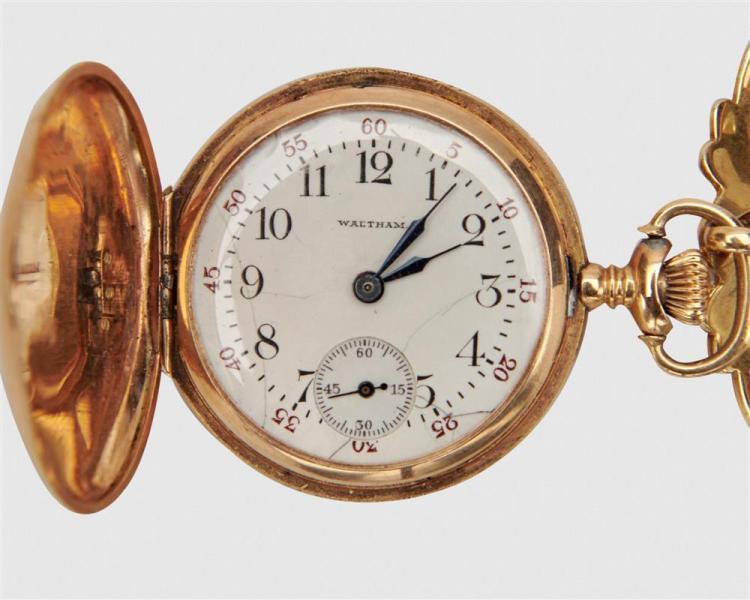 WALTHAM 14K Gold and Diamond Lapel Watch