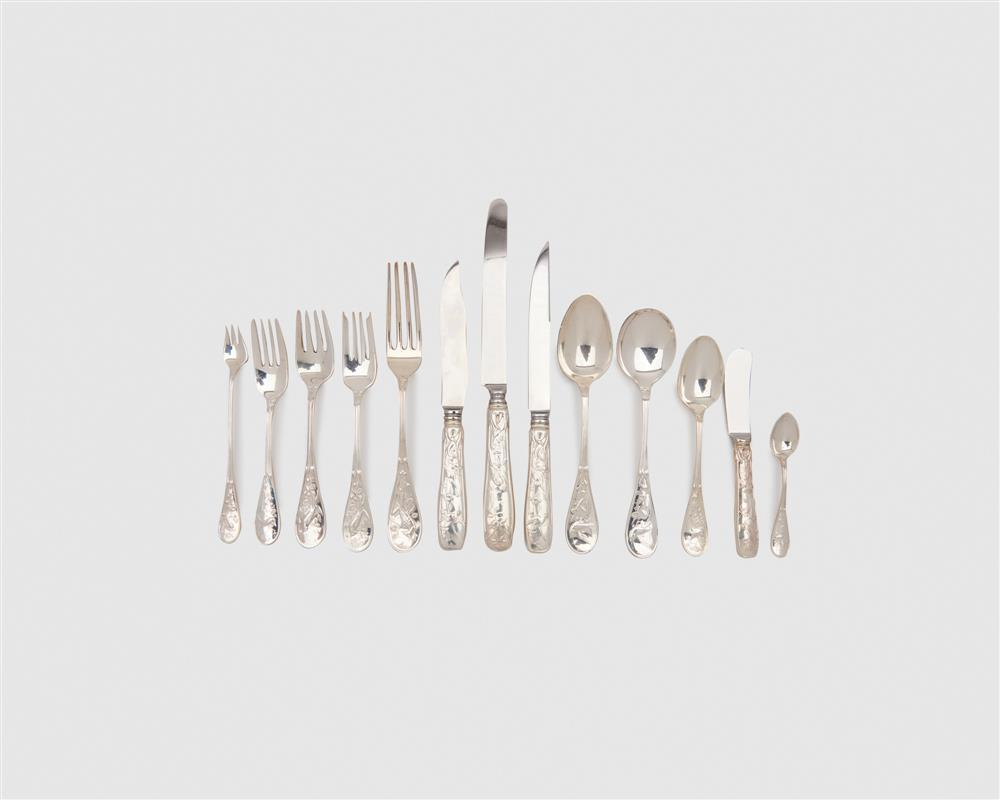 TIFFANY & CO. Silver Flatware Service for Twelve, Audubon Pattern