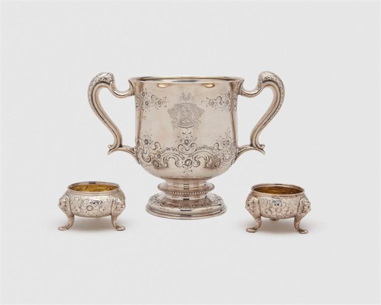 GEORGE SMITH III & WILLIAM FEARN Silver Two Handled Cup, London, 1797, together with a Pair of George III Silver Tripod Salts, unknown maker, Dublin, early 19th c.