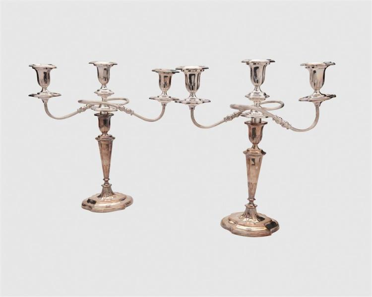 Assemblage of American and English Silver Wine Coasters and Weighted Candlesticks