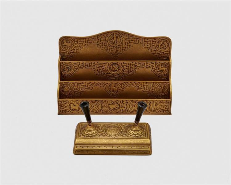 TIFFANY STUDIOS Five Piece Gilt Bronze Desk Set, Zodiac Pattern