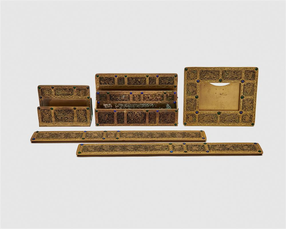 TIFFANY STUDIOS Five Piece Gilt Bronze and Glass Bead Inset Desk Set, Ninth Century Pattern
