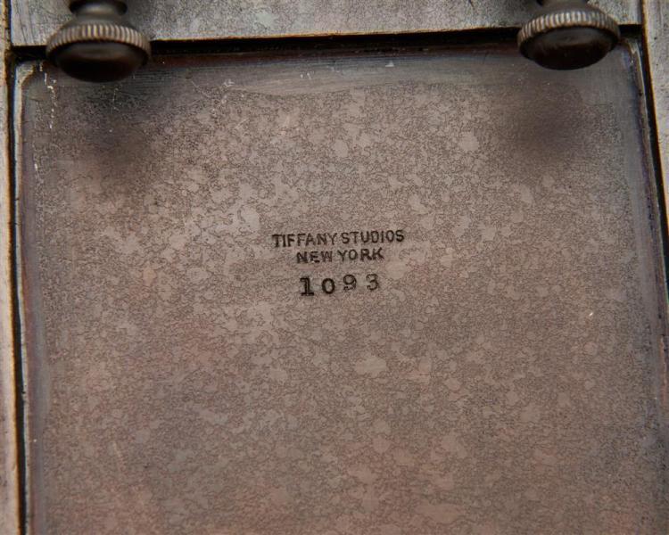 TIFFANY STUDIOS Seven Piece Patinated Bronze Desk Set, Zodiac Pattern