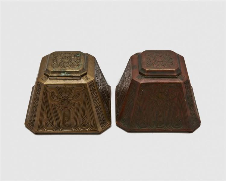 Two TIFFANY STUDIOS Patinated Bronze Master Inkwells, Chinese Pattern