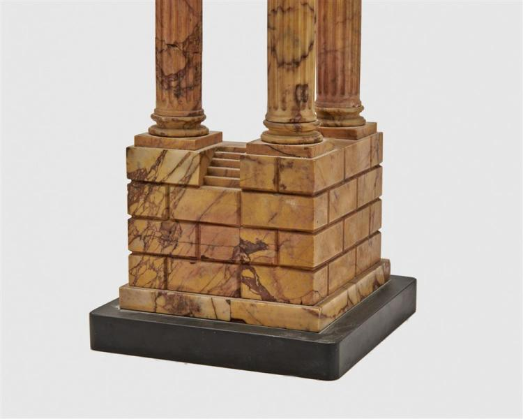 Italian Yellow Marble Grand Tour Souvenir Model of the Temple of Vespasian and Titus, 19th century
