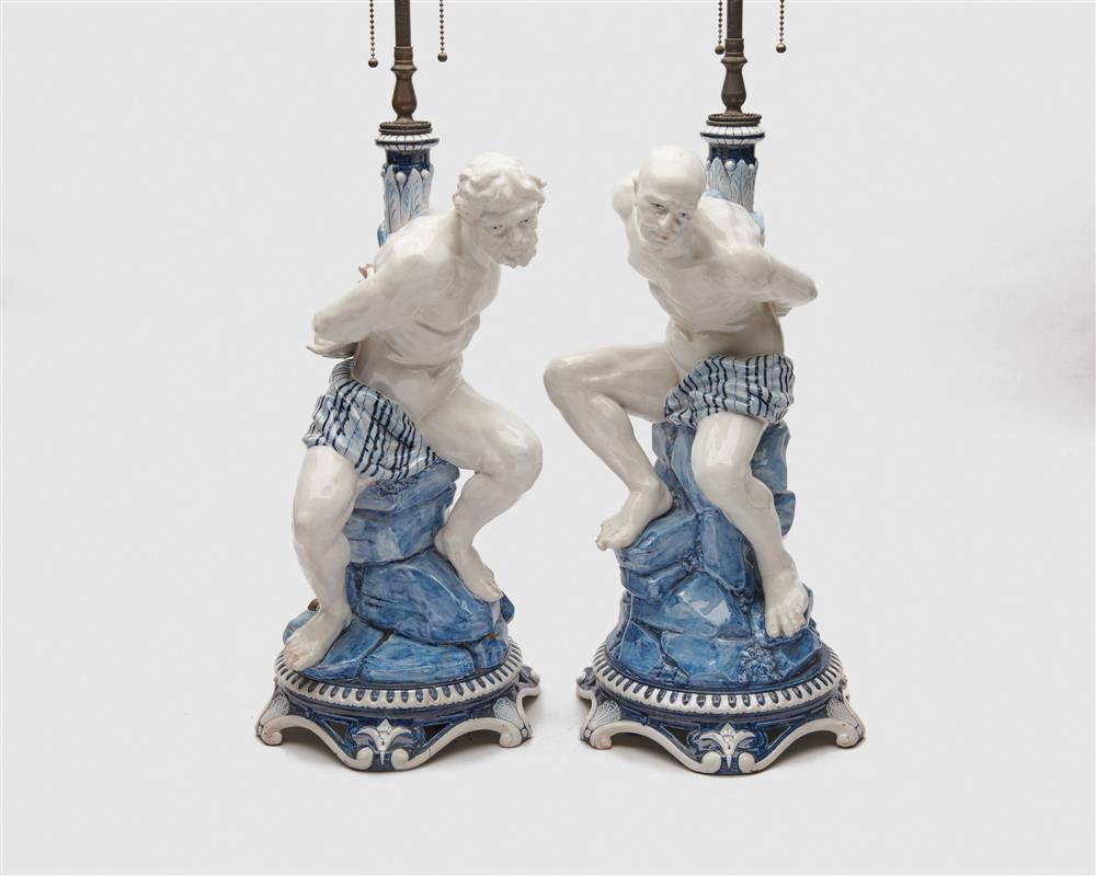 Pair of Ginori Porcelain Figures of Bound Prisoners, mounted as lamps