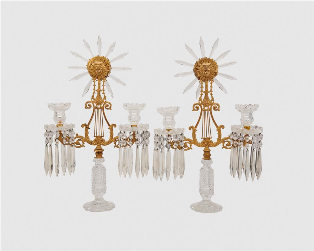 Pair of Neo Classical Lyre and Sun Goddess Form Gilt Bronze and Cut Glass Two Light Girandole