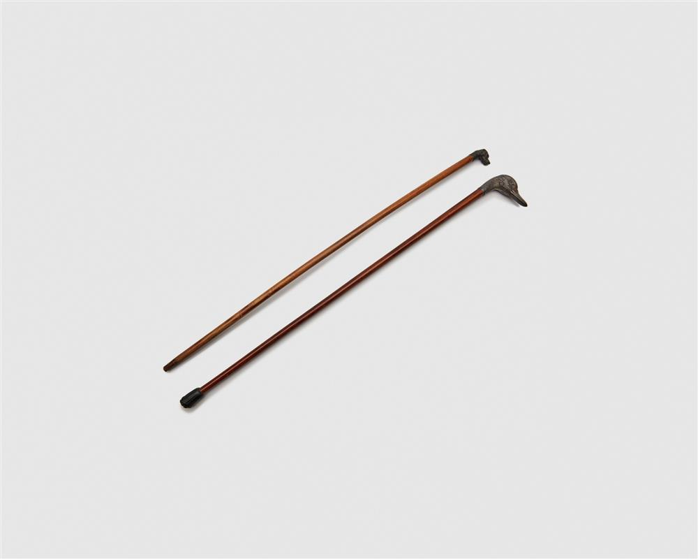 Two Wood and Silver Top Walking Sticks