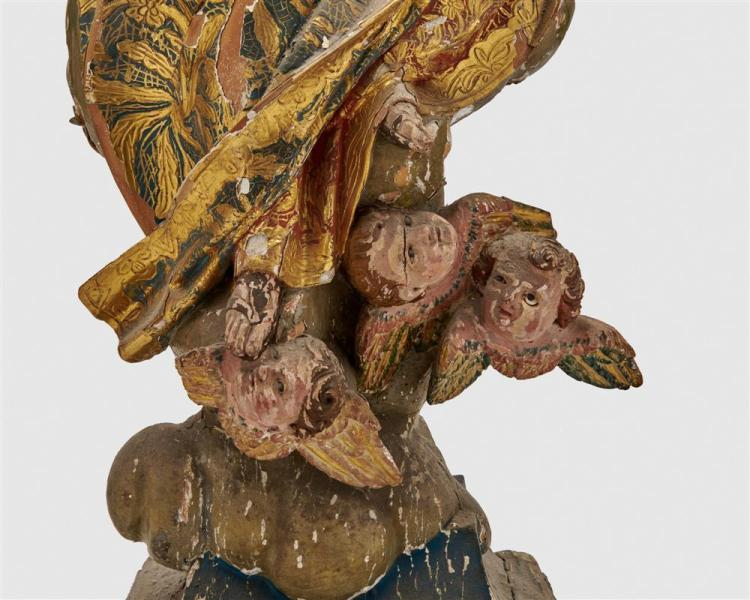 Continental Carved and Painted Wood Figure of Virgin and Child among Clouds and Winged Putti
