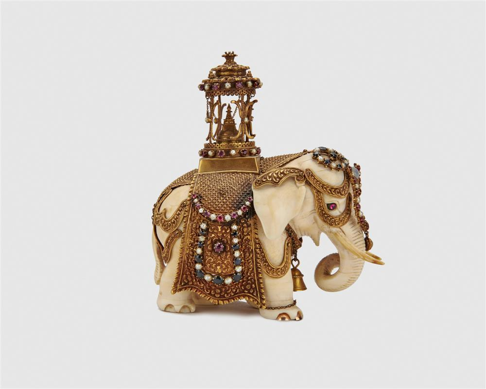 Fanciful Mughal Style Carved Ivory, Gold, and Jewel Adorned Elephant, probably Indian, 19th Century
