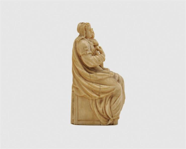French Carved Ivory Figure of a Mother and Child, possibly Dieppe