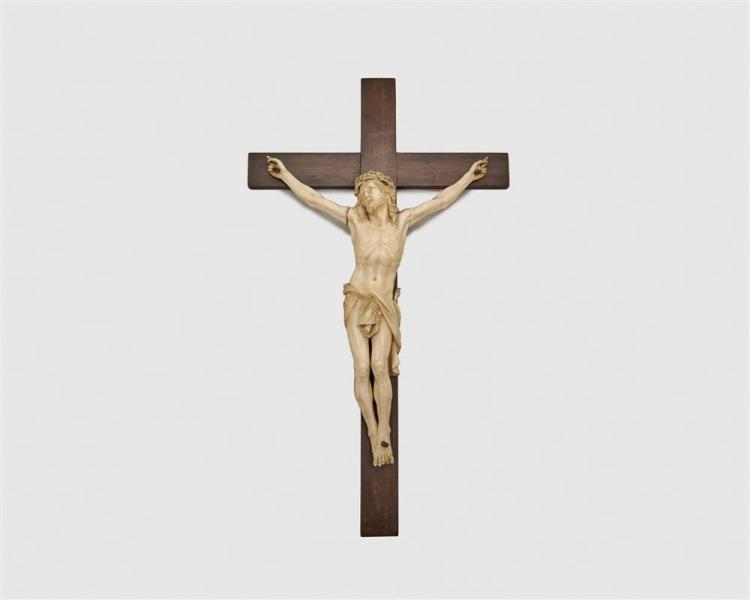 French Carved Ivory Crucifix, possibly Dieppe