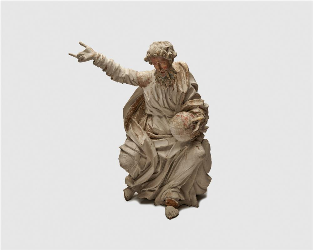 Continental Carved and Painted Wood Figure of Zeus, gesturing and holding a globe