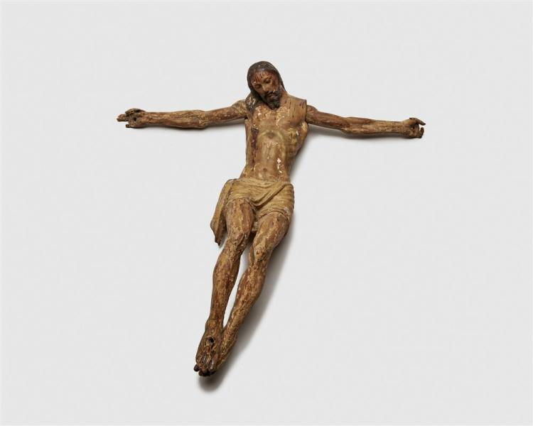 Continental Carved and Painted Wood Figure of Christ Crucified