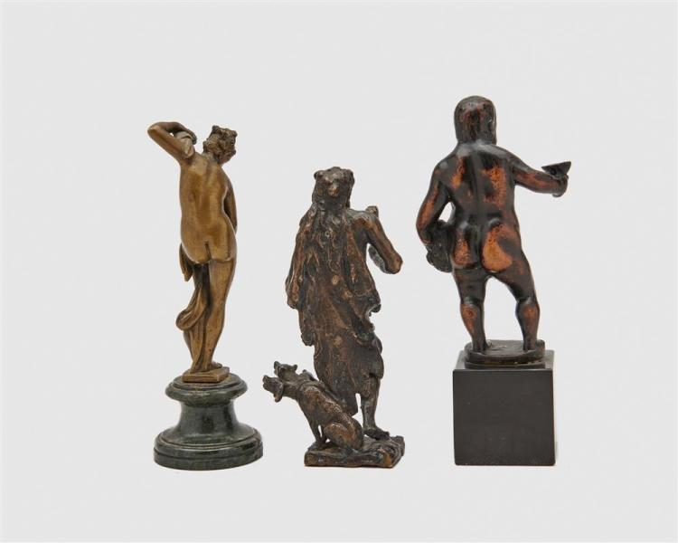 Assemblage of Six Continental Patinated Bronze Figures, after the antique