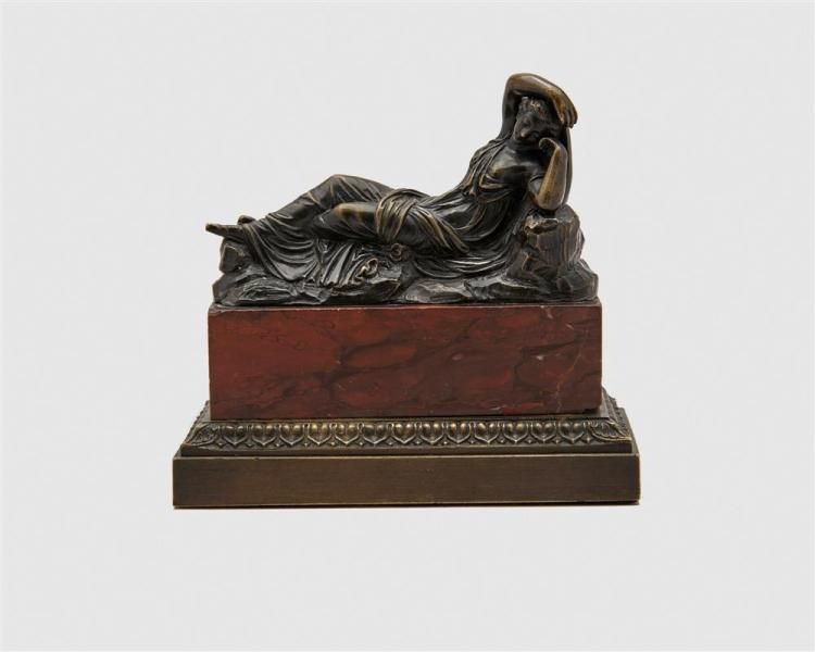 Pair of Continental Patinated Bronze Figures of Classical Roman Soldiers, on rouge marble bases, after Michelangelo together with a Continental Patinated Bronze Figure of a Reclining Classical Woman, on rouge marble b...