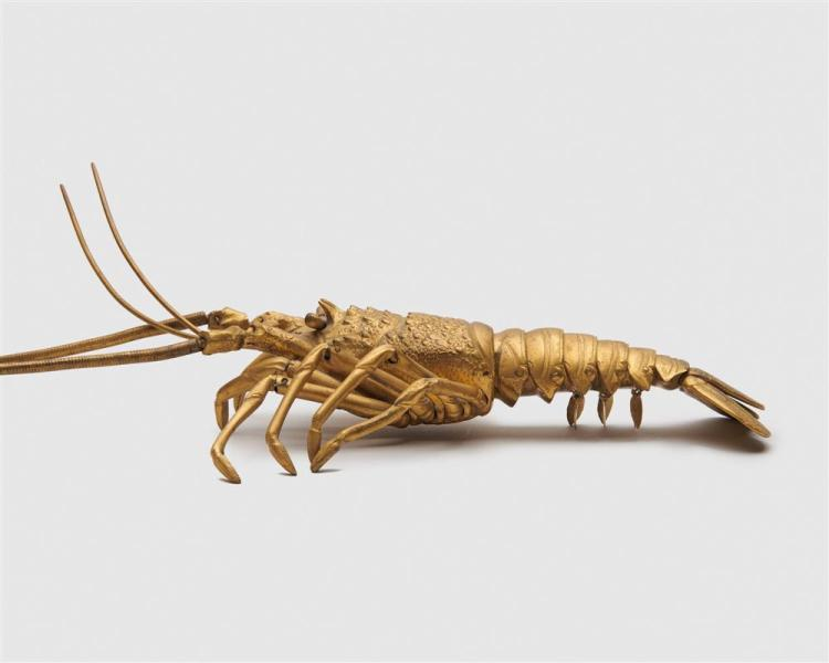 Japanese Meiji Gilt Bronze Figure of an Articulated Spiny Lobster