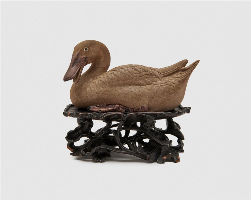 Painted Earthenware Figure of a Duck, possibly Japanese