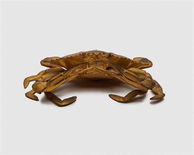 Japanese Meiji Gilt Bronze Figure of a Crab