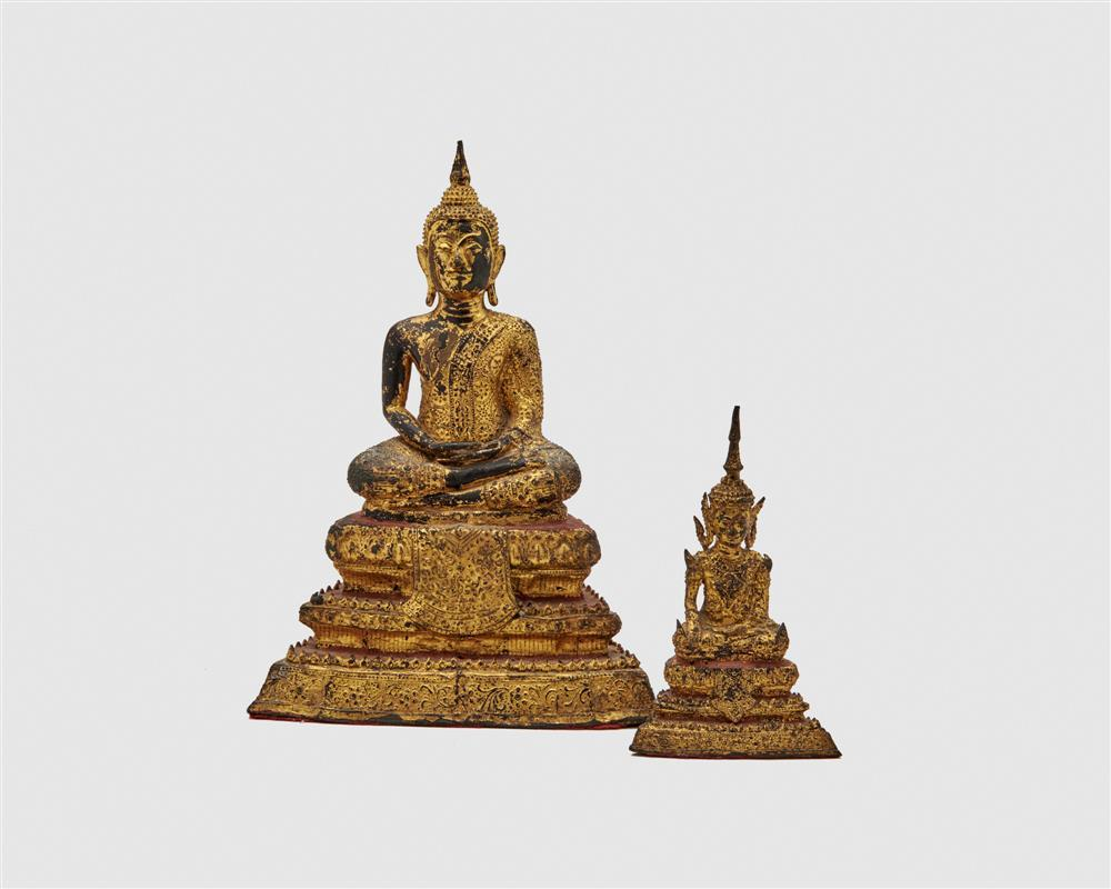 Two Similar Gilt and Painted Bronze Figures of Buddha Seated on a Throne