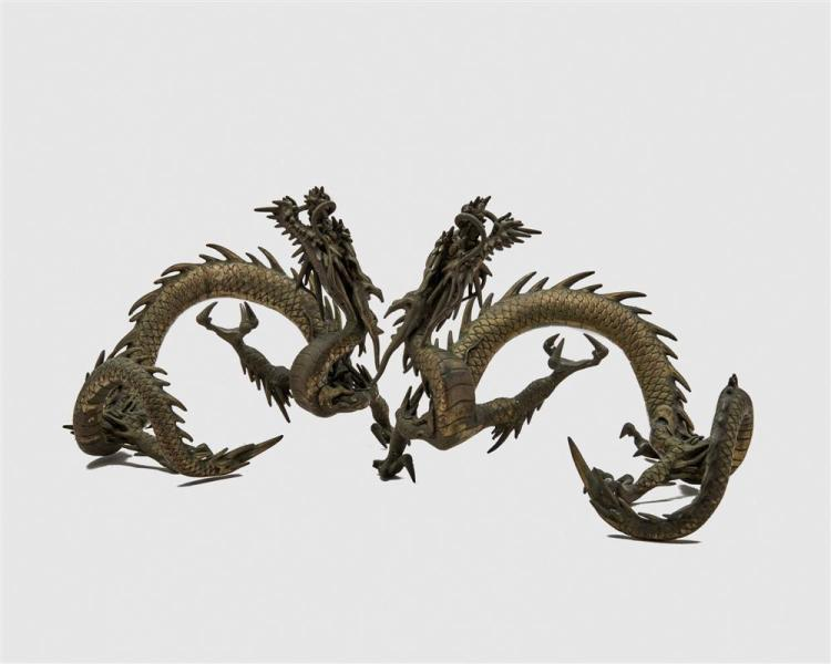 Pair of Japanese Meiji Bronze Figures of Coiled Dragons