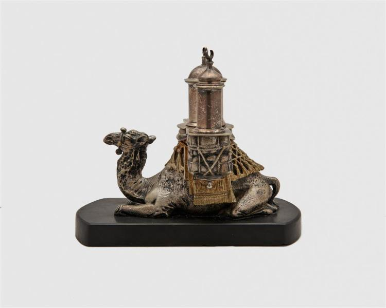 English Silver and Gilt Plated Camel Form Cigar Lighter