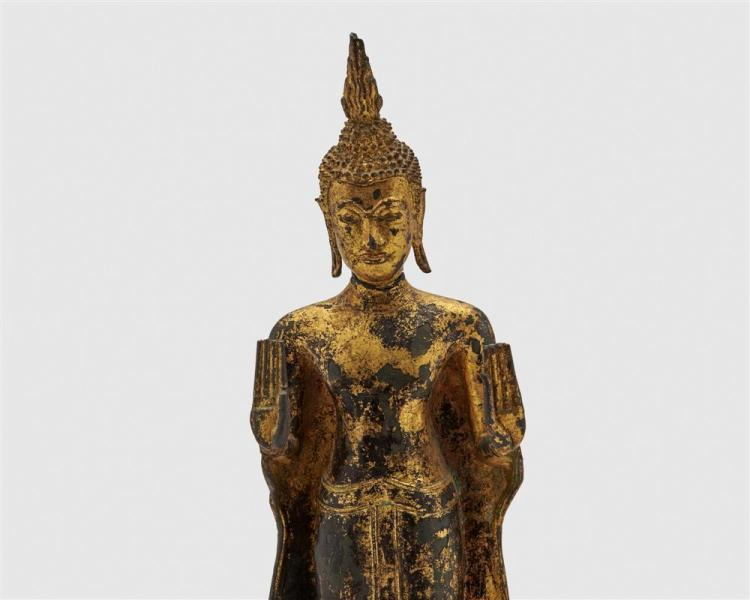 Gilt and Painted Bronze Figure of Standing Buddha