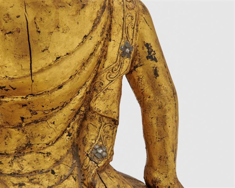 Carved, Painted, and Gilt Wood Figure of a Kneeling Figure