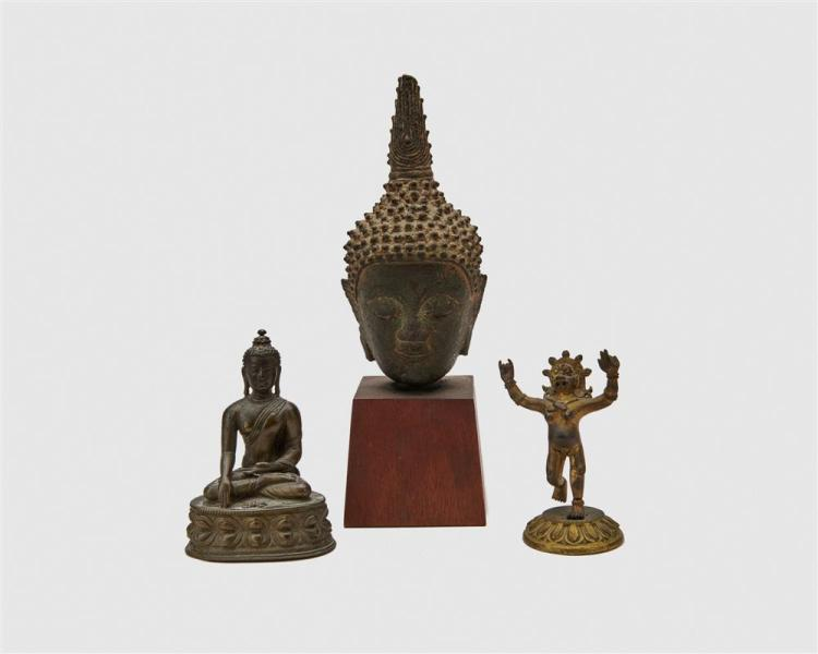 Bronze Head of Buddha together with a Bronze Seated Buddha and a Gilt Bronze Standing Deity
