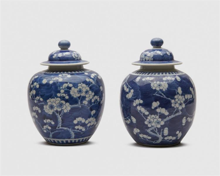 Pair of Chinese Blue and White Covered Ginger Jars