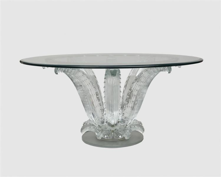 LALIQUE 'Cactus' Crystal, Glass, and Chrome Table;