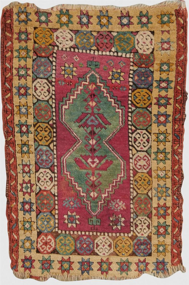 Turkish Yastik, ca. 1875; 3 ft. x 2 ft.
