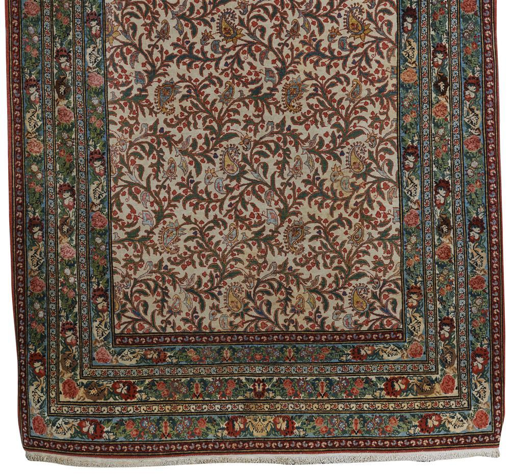 Silk and Wool Qum Rug, Persia, ca. 1940; 6 ft. 10 in. x 4 ft. 8 in.