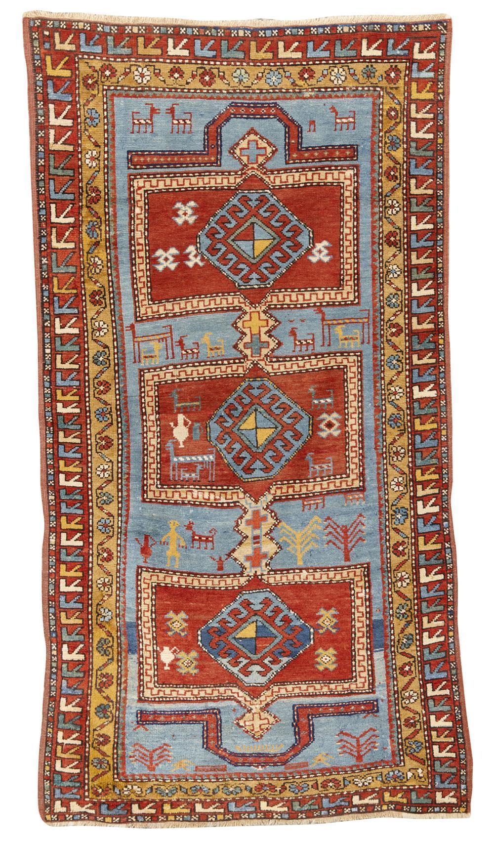 Kazak Double Niche Prayer Rug, Caucasus, ca. 1910; 6 ft. 7 in. x 3 ft. 4 in.