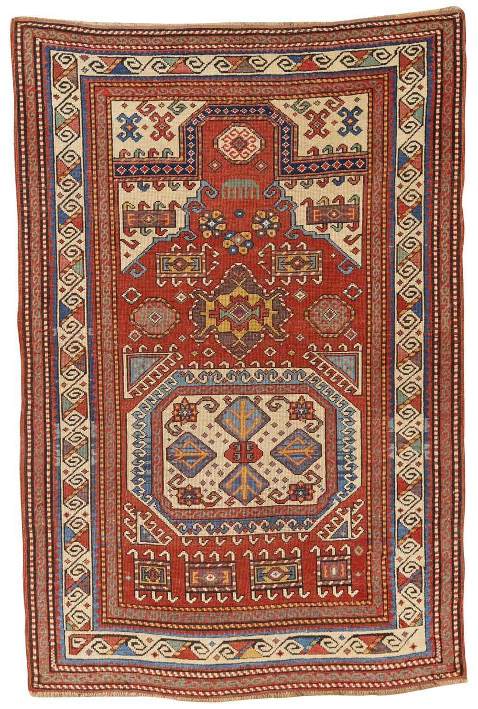 Caucasian Prayer Rug, 19th century; 4 ft. 8 in. x 3 ft. 1 in.