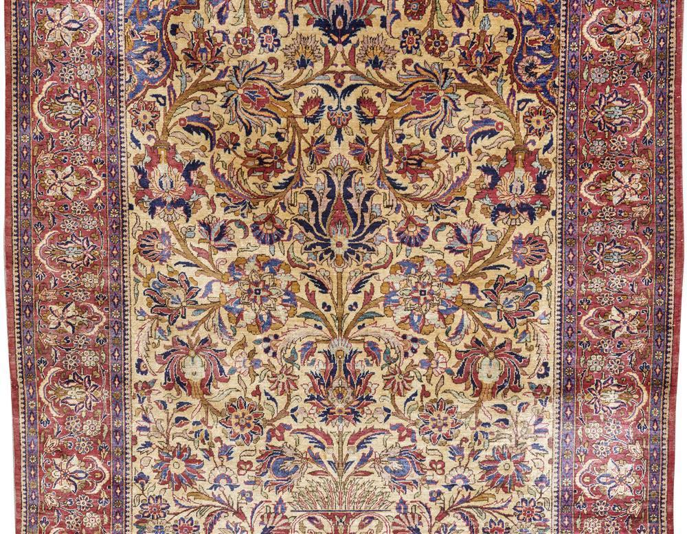 Silk Kashan Prayer Rug, Persia, 1st quarter 20th century; 6 ft. 9 in. x 4 ft. 2 in.