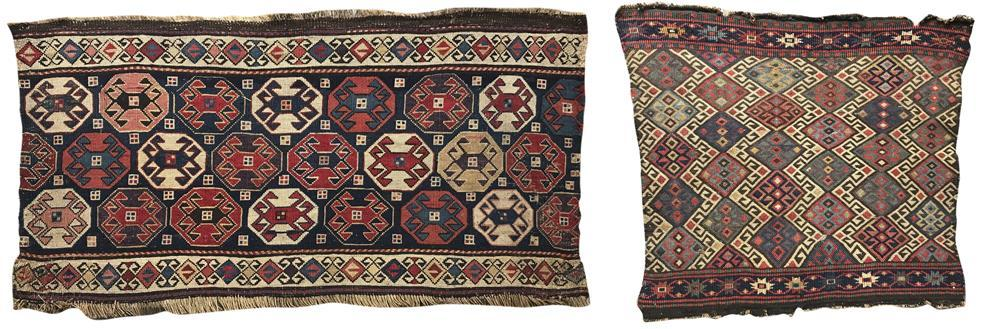 Two Reverse Soumac Bagfaces, ca. 1875, 3 ft. x 1 ft. 6 in., and 1 ft. 8 in. x 1 ft. 8 in.
