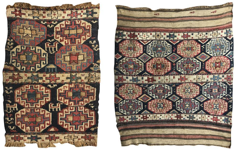 Two Reverse Soumac Bagfaces, ca. 1875, 3 ft. 8 in. x 3 ft. and 2 ft. x 1 ft. 6 in.