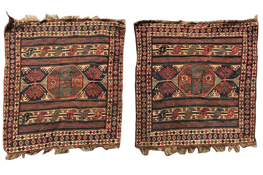 Two Soumac Bagfaces, ca. 1875, 2 ft. x 1 ft. 9 in.