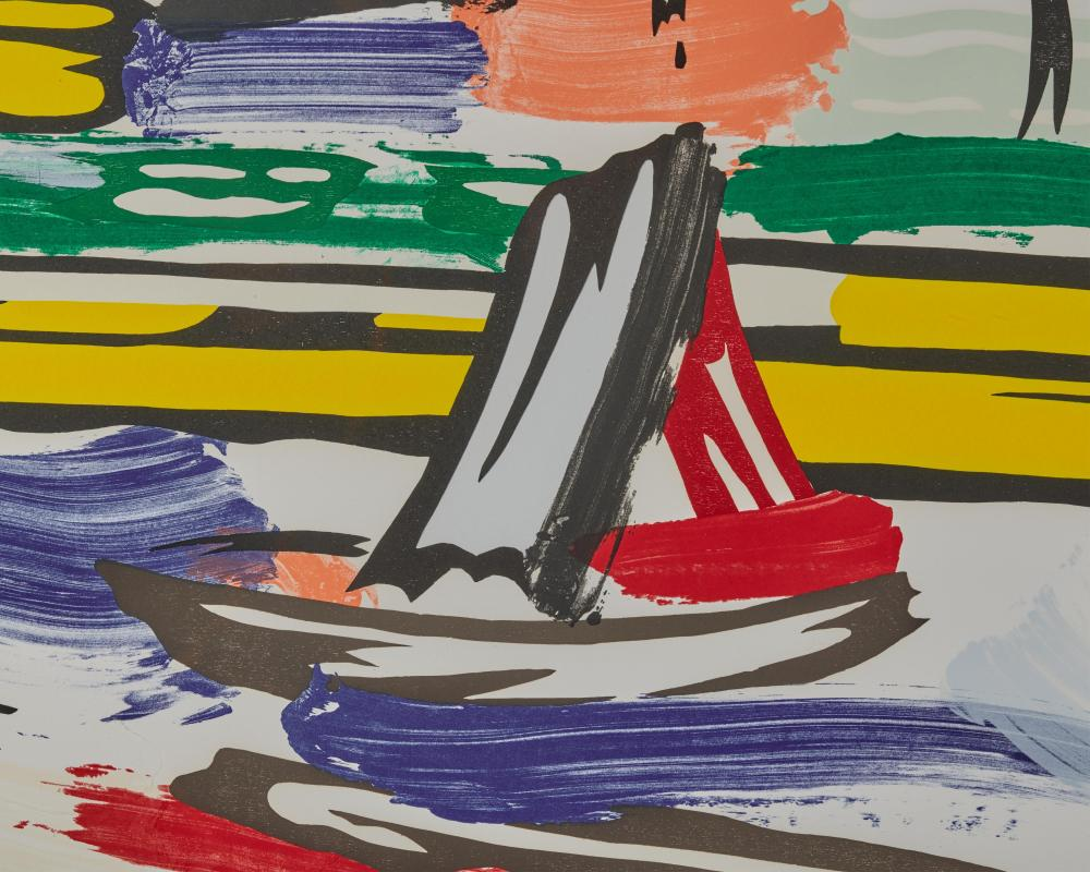 ROY LICHTENSTEIN, (American, 1923-1997), The River, from Landscapes (C. 214), 1985, lithograph, woodcut, and screenprint in colors on Arches paper, sight: 38 3/8 x 52 3/4 in., frame: 47 1/4 x 62 in.